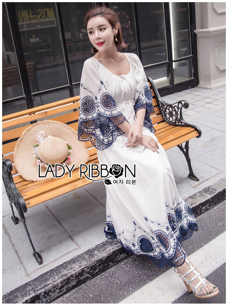 Lady Ribbon Korea Dress LR09060616 &#x1F380 Lady Ribbon's Made &#x1F380 Lady Cathy Casual Beach Chic Lace Embroidered Cotton Maxi Dress