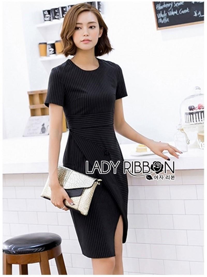 เสื้อผ้าแฟชั่นเกาหลี Lady Ribbon Thailand 's Made Lady Taylor Minimal Chic Striped Dress