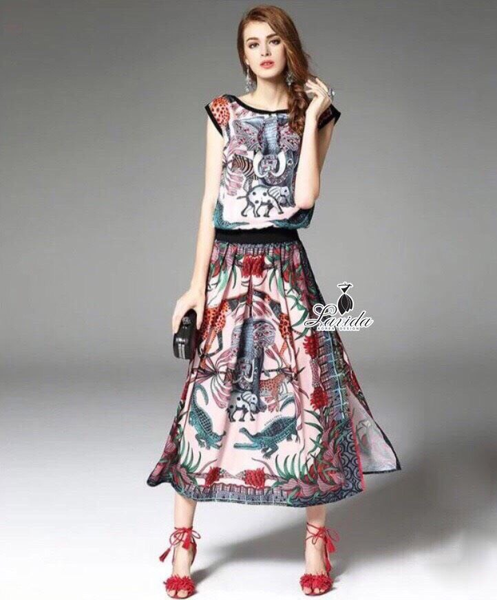 Lady Ribbon Korea Design LV03200616 &#x1F36DKorea Design By Lavida fashionista zoo printing sleeveless top feminine set