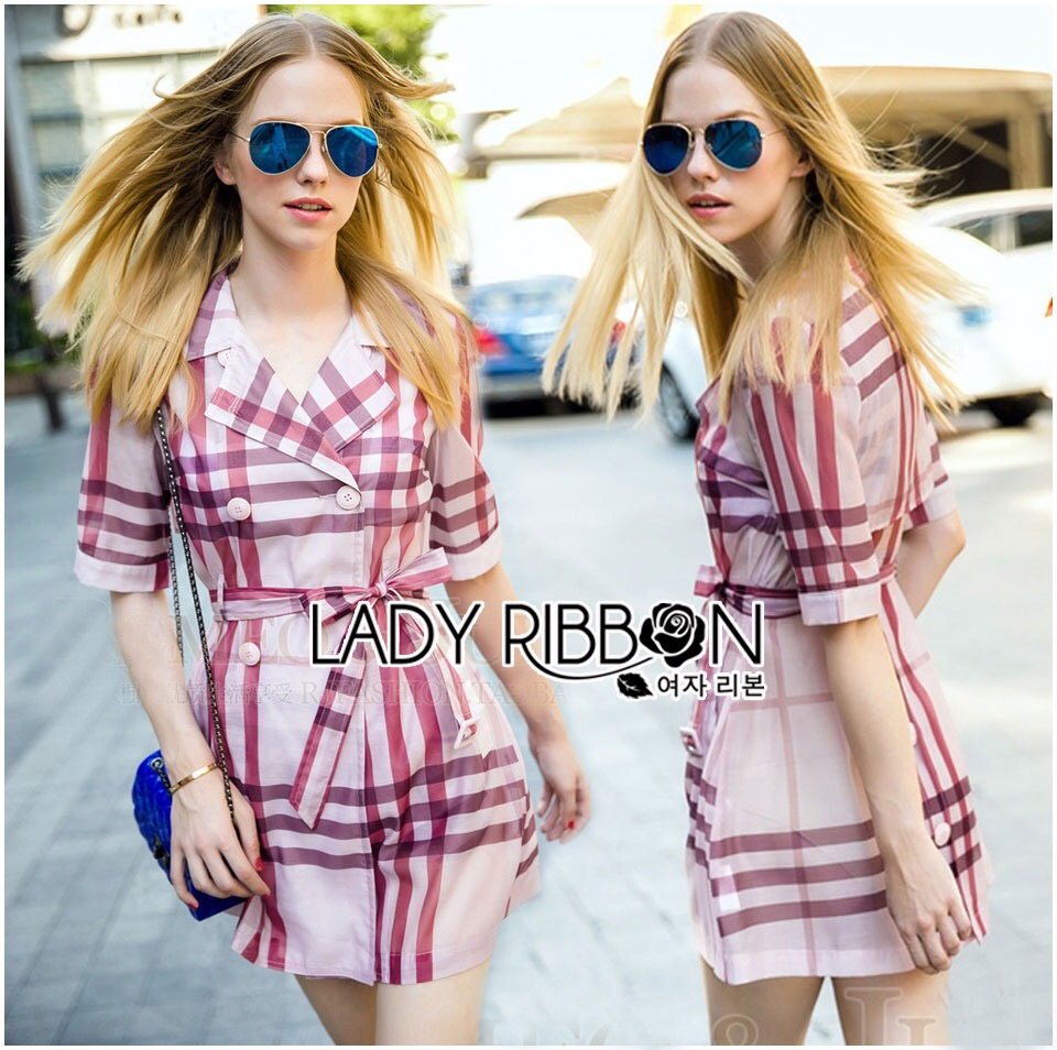 Lady Ribbon's Made &#x1F380 Lady Susan Double-Breast Checked Pink Trench Coat Korea