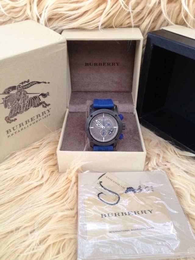 New Burberry Sport Chronograph Grey Dial Blue Rubber Men's Watch BU7706