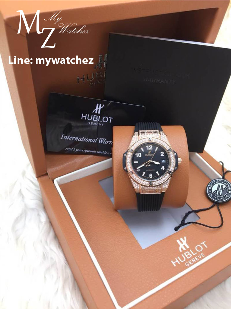 Hublot Big Bang One Click King Gold Jewelry Lady - Black Dial