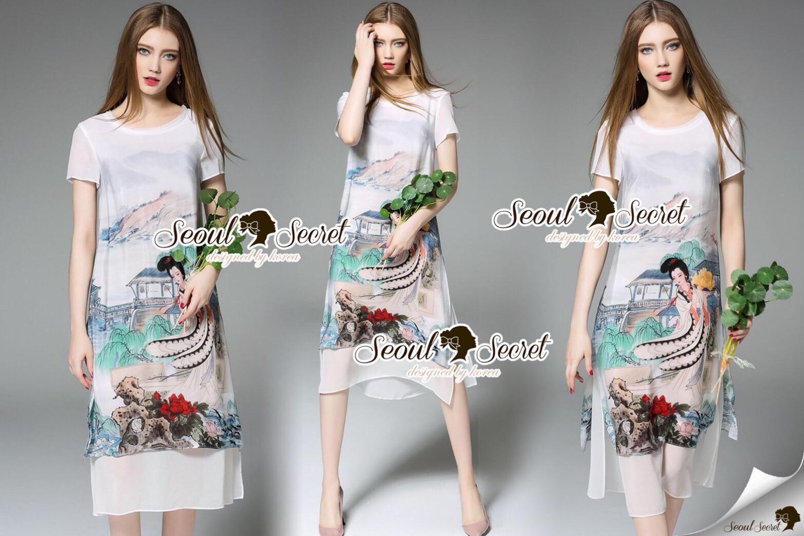 Lady Ribbon Korea Brand SS15300516 Seoul Secret Say's .... Telegraph Planty Paint Brush Style Long Dress