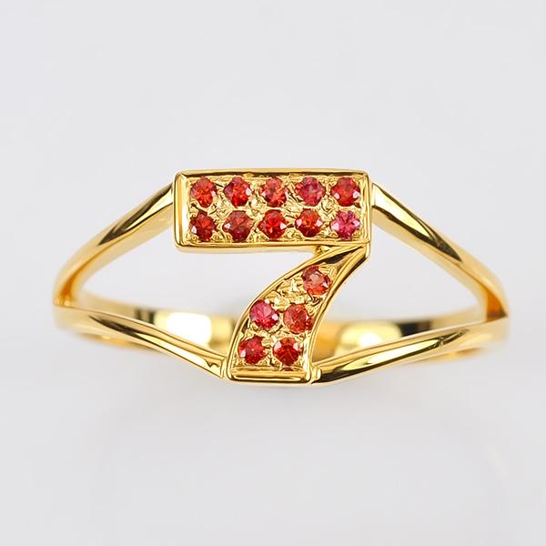แหวนทองรูปเลข7 ประดับพลอยทับทิม