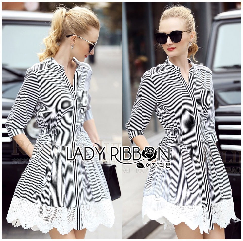 Lady Ribbon's Made &#x1F380 Lady Rosie Minimal Chic Striped Shirt Dress with Lace Trimming