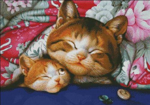 Two Cats (ไม่พิมพ์ลาย)