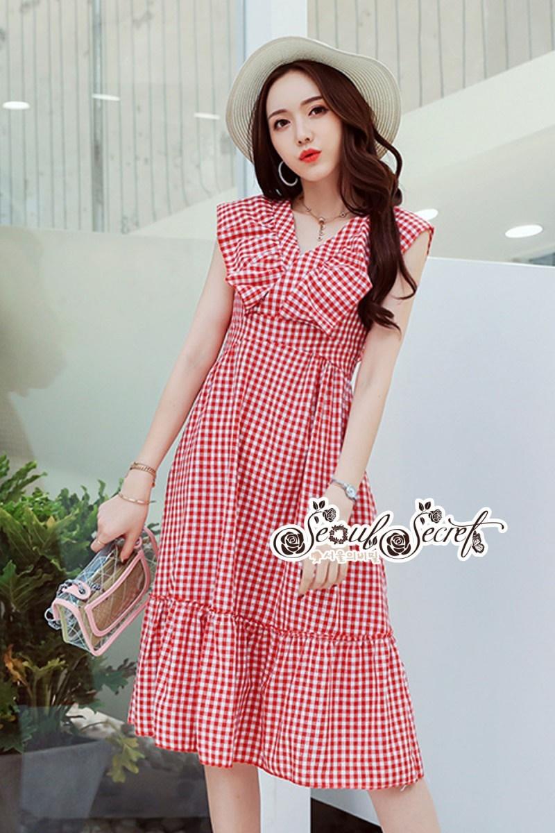 เสื้อผ้าแฟชั่นเกาหลี Lady Ribbon Thailand Seoul Secret Say'...Bias Cape Red&White Gingham Kilt Plaid Open Back
