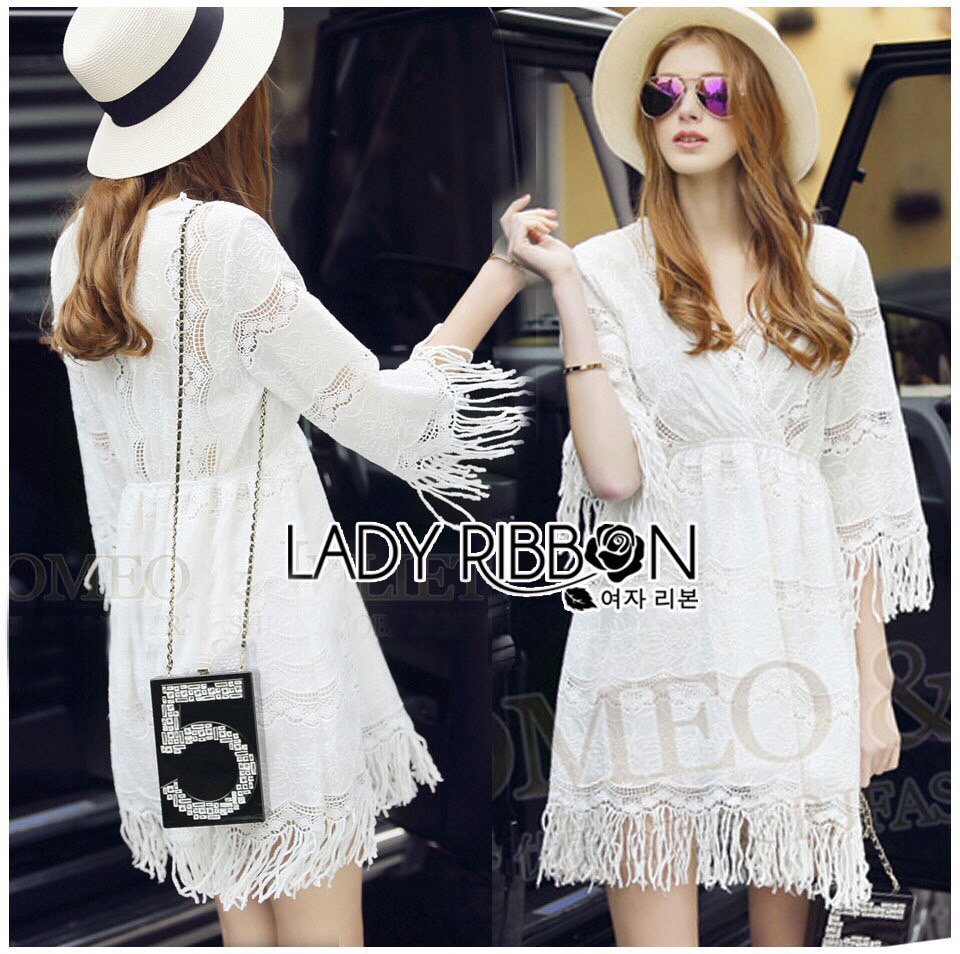 Lady Ribbon dress korea LR08190516 &#x1F380 Lady Ribbon's Made &#x1F380 Lady Kate Modern Bohemian Fringed White Lace Korea Dress เดรสผ้าลูกไม่