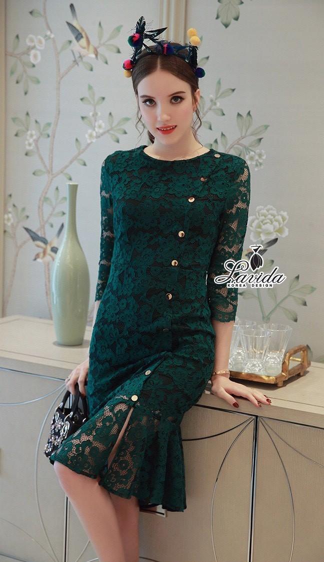 เสื้อผ้าแฟชั่นเกาหลี Lady Ribbon Thailand Floral pendulum lace button decoration dress