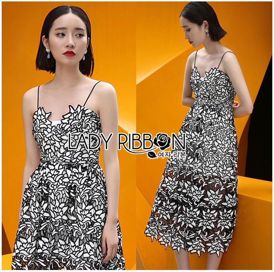 Lady Ribbon Korea Mini Dress LR08160616 &#x1F380 Lady Ribbon's Made &#x1F380 Lady Azelea Monochrome Lace Mini Dress