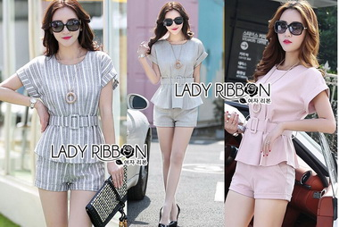 Lady Ribbon Korea Korea Cutting LR02300616 &#x1F380 Lady Ribbon's Made &#x1F380 Lady Amanda Smart Minimal Belted Top and Shorts Set Cutting