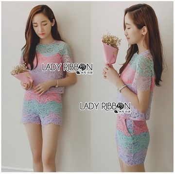 Lady Ribbon เสื้อผ้าเกาหลี LR13140716 &#x1F380 Lady Ribbon's Made &#x1F380 Lady Rachel Rainbow Pastel Striped Lace Set