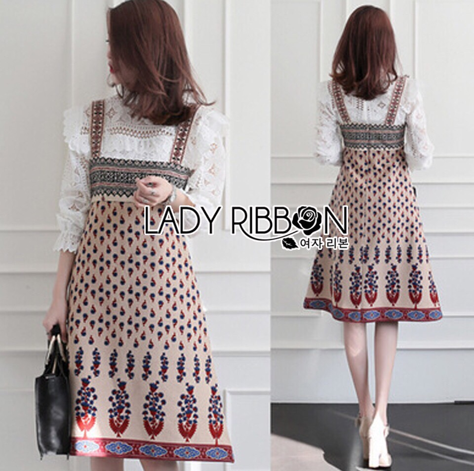 Lady Ribbon Korea Dress LR05160616 &#x1F380 Lady Ribbon's Made &#x1F380 Lady Rosie Feminine White Lace Shirt and Printed Viscose Dress Set