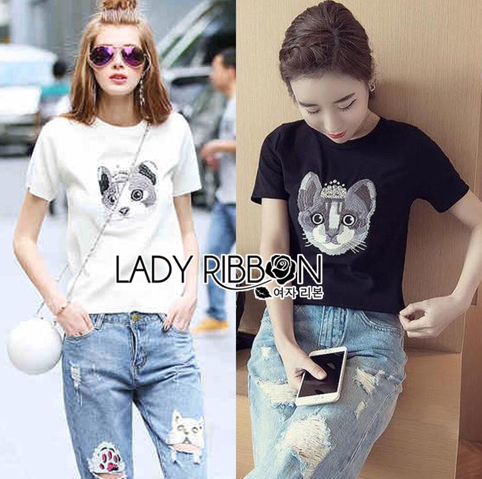 : Lady Ribbon Dress LR06120516 &#x1F380 Lady Ribbon's Made Dress Denim &#x1F380 Lady Lizzy Kitten Embroidered with Crystal Embellished Cotton Dress Denim Jersey T-Shirt