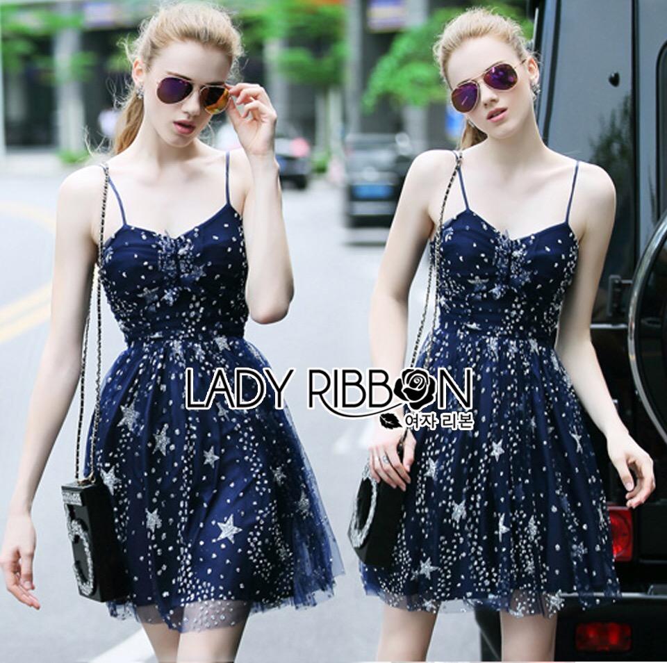 Lady Ribbon Korea Dress &#x1F380 Lady Ribbon's Made &#x1F380 Lady Gabriella Glittery Stars Tulle Mini Dress มินิเดรส