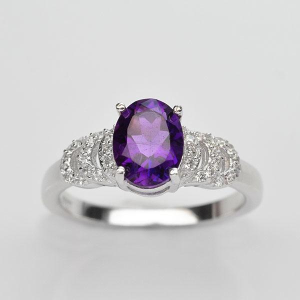แหวนพลอยแท้ แหวนเงิน925 พลอยอเมทิส ประดับเพชร CZ ชุบทองคำขาว