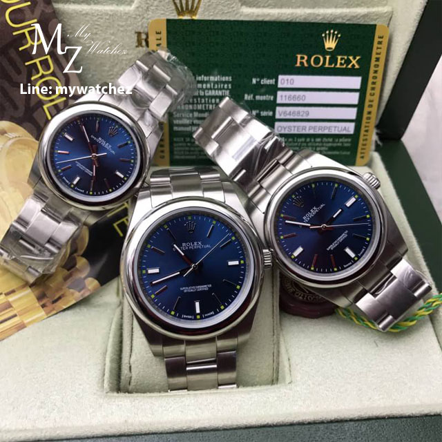 Rolex Oyster Perpetual Blue Dial Stick Hour