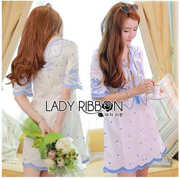 Lady Ribbon Korea Mini Dress LR14270616 &#x1F380 Lady Ribbon's Made &#x1F380 Lady Rachel Summery Classic Blue and White Embroidered Dress