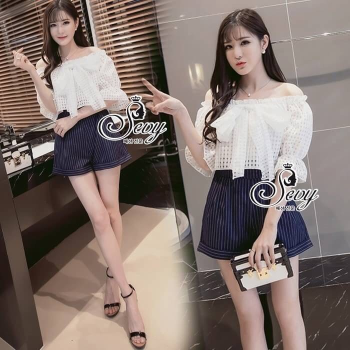 เสื้อผ้าแฟชั่นเกาหลี Sevy Off Shoulder Organza Ribbon Bust Strips Shorts Playsui