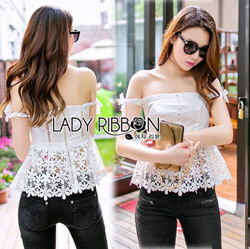 Lady Ribbon Closet เสื้อผ้าเกาหลี LR06140716 &#x1F380 Lady Ribbon's Made &#x1F380 Self-Portrait Off-Shoulder White Lace Corset เสื้อเปิดไหล่