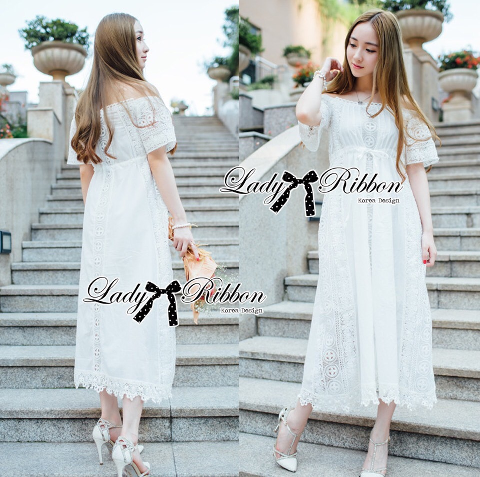 Lady Ribbon Korea Dress LR06230616 &#x1F380 Lady Ribbon's Made &#x1F380 Lady Emilia Bohemian Off-Shoulder Embroidered Cotton Lace Maxi Dress