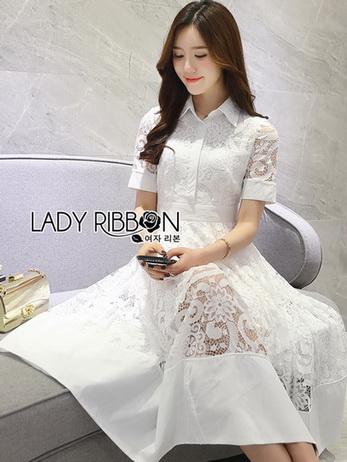 Sweet Feminine White Lace Midi Shirt Dress