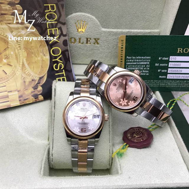 Rolex Datejust Automatic Silver and Rose Gold Flora Edition