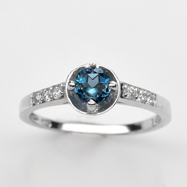 แหวนพลอยแท้ แหวนเงิน925 พลอย ลอนดอนบลูโทปาส ประดับเพชร CZ ชุบทองคำขาว