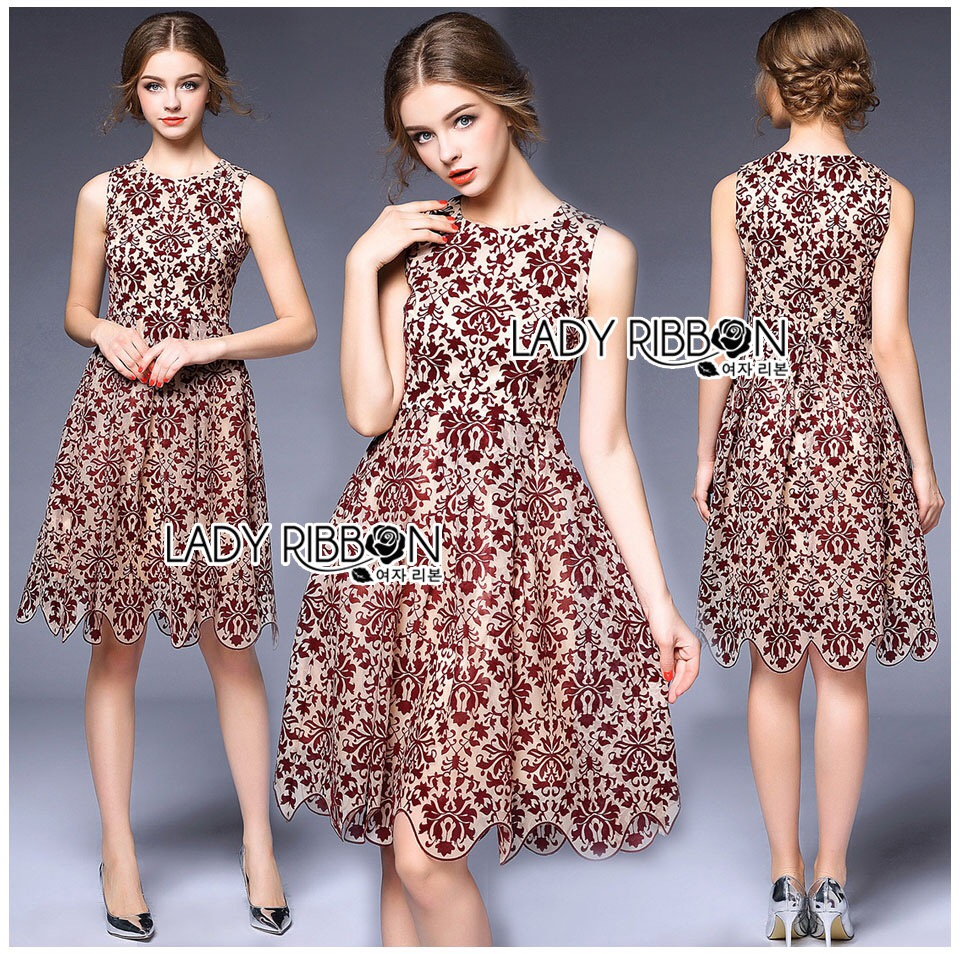 &#x1F380 Lady Ribbon's Made &#x1F380 Lady Lauren Burgundy Floral Pattern Printed Tulle Sleeveless Korea Dress