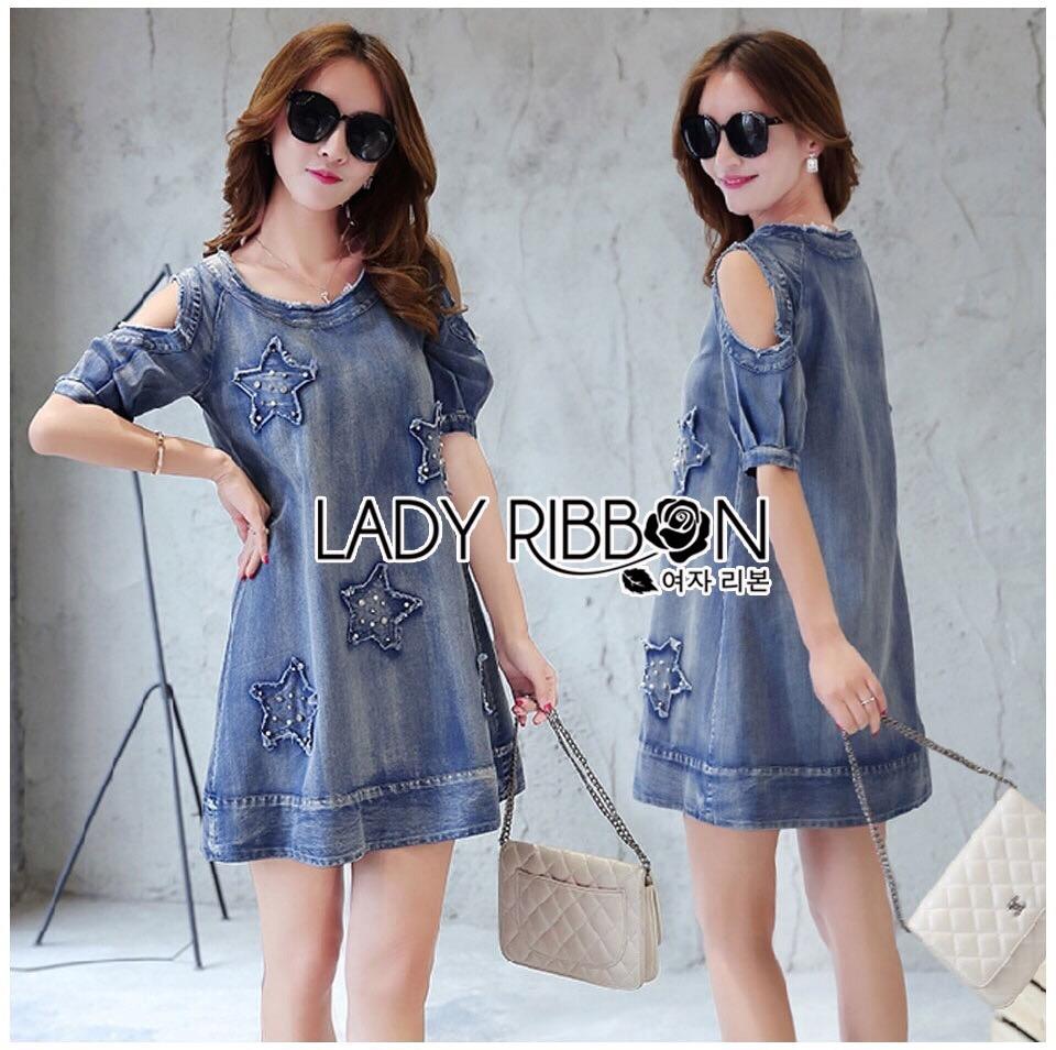 Lady Ribbon Korea Dress Denim LR07230616 &#x1F380 Lady Ribbon's Made &#x1F380 Lady Savina Cool Chic Shoulder Cut-Oul Star Embroidered Denim Dress เดรสผ้า