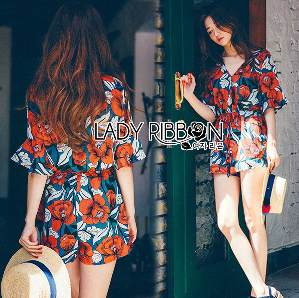 Lady Ribbon Korea LR05190516 &#x1F380 Lady Ribbon's Made &#x1F380 Lady Grace Spring Floral Blossom Printed Korea Playsuit