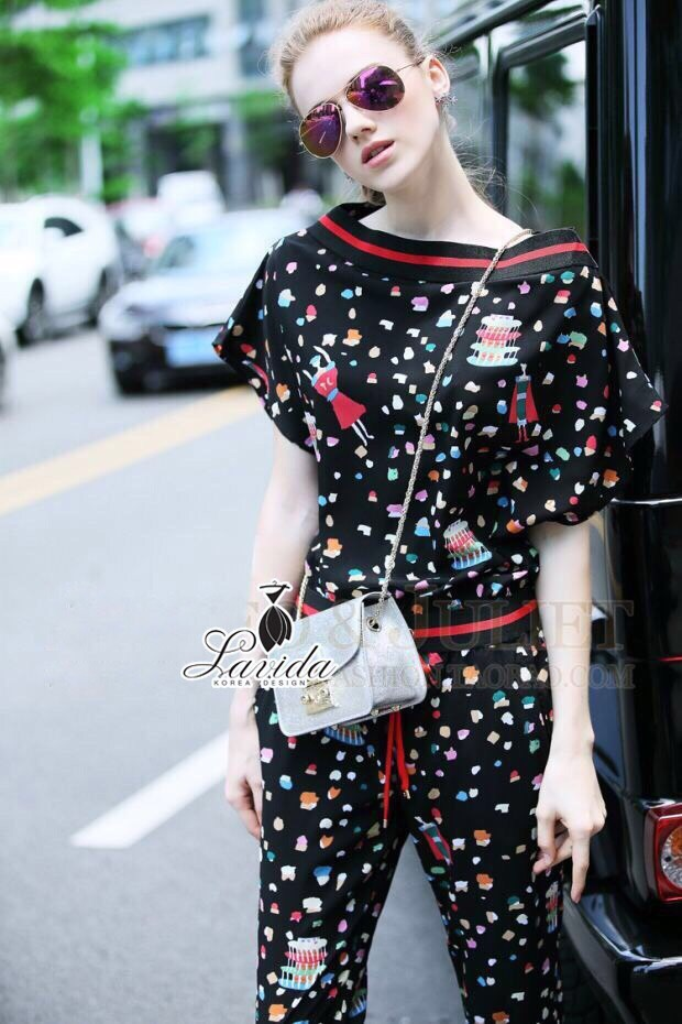 Korea Design By brand cliona Lavida fashionista colorful printed black chic jumpsuit coed733 จั้มสูททรงยาว ดีไ