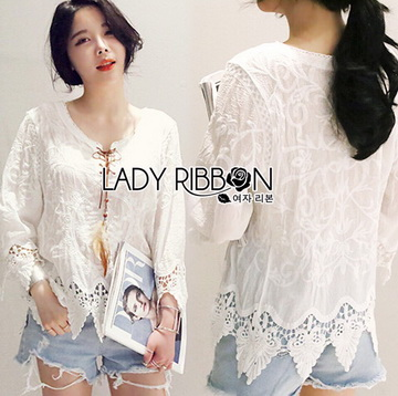 Lady Ribbon เสื้อผ้าเกาหลี LR04110716 &#x1F380 Lady Ribbon's Made &#x1F380 Lady Sara Bohemien Chic Cotton Embroidered with Lace Top เดสื้อผ้าคอตตอน