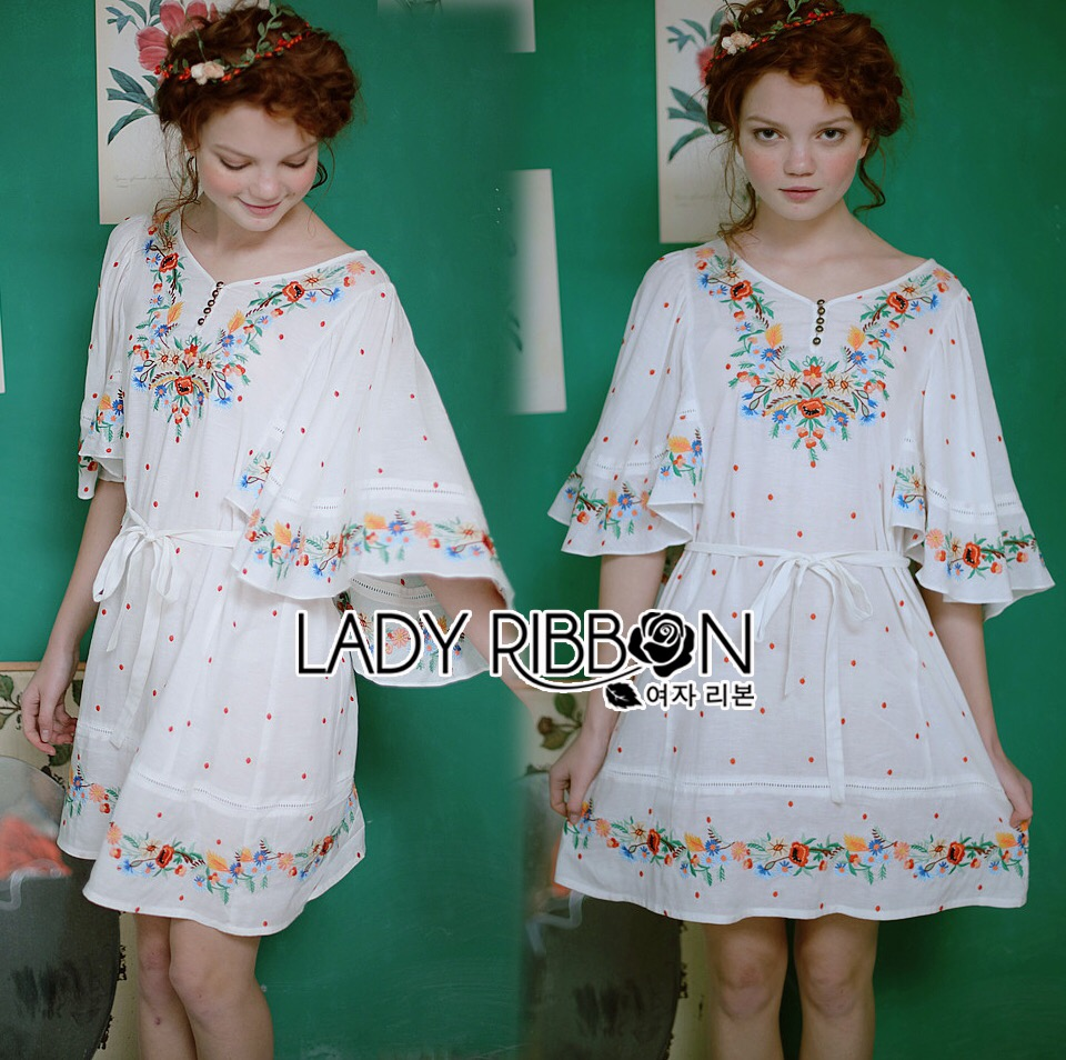 : Lady Ribbon Dress LR15120516 &#x1F380 Lady Ribbon's Made &#x1F380 Lady Delfina Summery Causal Floral Embroidered Cotton Cape Dress