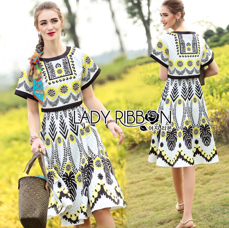 Lady Ribbon Korea LR19230516 &#x1F380 Lady Ribbon's Made &#x1F380 Lady Kristen dress Sunshine Graphic Printed Cropped Top and dress