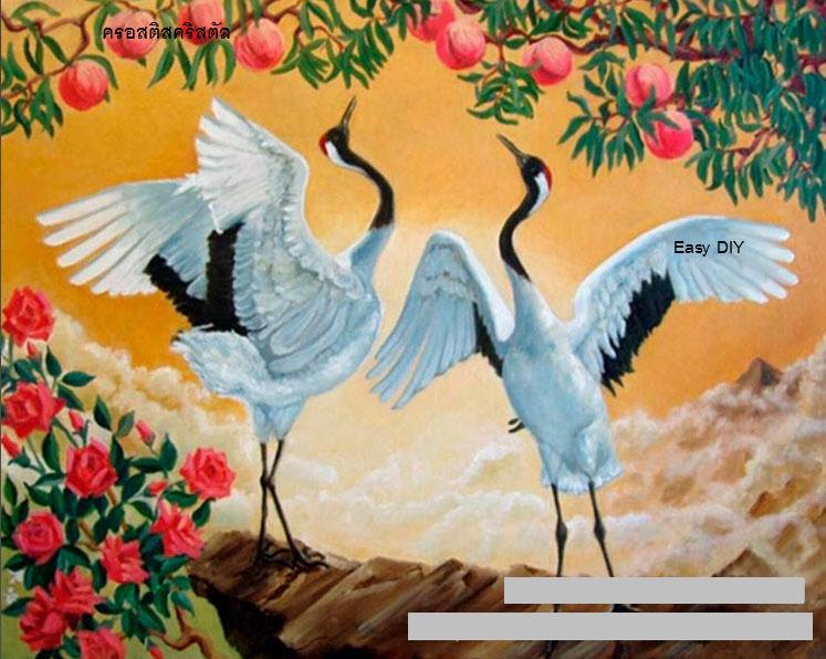 ครอสติสคริสตัลรูปนกกระเรียนคู่รัก-สัตว์มงคลส่งเสริมด้านความรัก