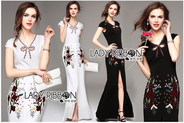 Lady Ribbon Korea Maxi Dress Korea LR10300616 &#x1F380 Lady Ribbon's Made &#x1F380 Lady Anne Maxi Elegant Floral Embroidered Polyester Dress