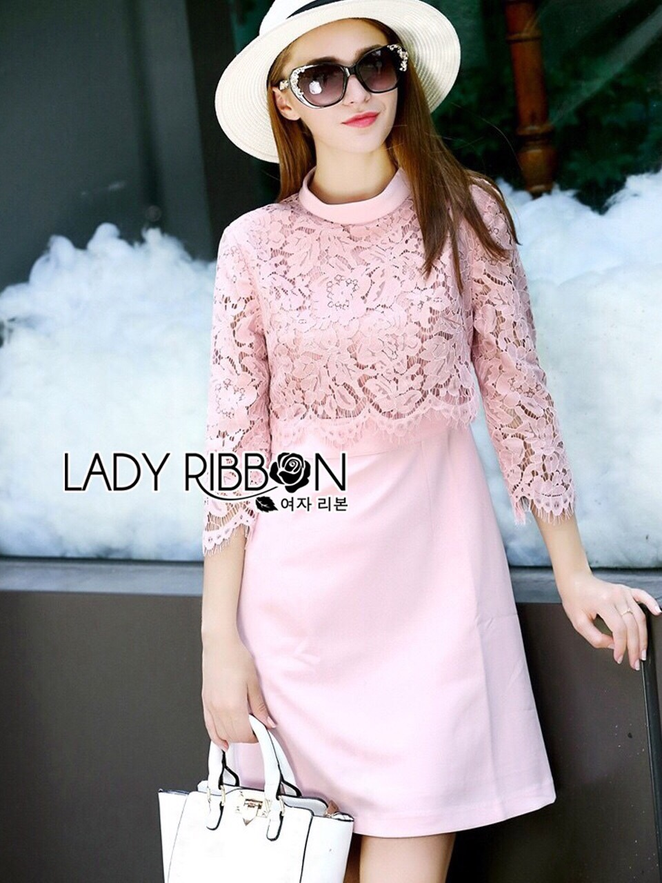 Lady Ribbon Korea LR08230516 &#x1F380 Lady Ribbon's Made &#x1F380 Lauren Holiday Look Guipure Lace Dress in Pin