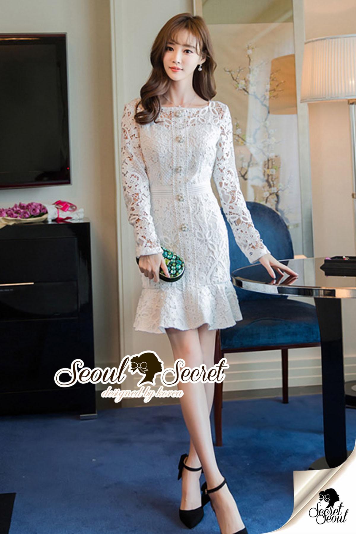 Seoul Secret Say's... Princess Ladiest Ivory Lace Dress