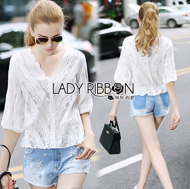 Lady Ribbon Korea Closet Jumpsuit LR11270616 &#x1F380 Lady Ribbon's Made &#x1F380 Lady Emily Sweet Scallop Laser-Cut and Embroidered Cotton Top