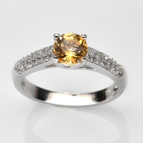 แหวนพลอยแท้ แหวนเงินแท้ 925 ฝังพลอยซิทริน (Citrine) ประดับด้วยเพชร CZ เกรดพรีเมี่ยม