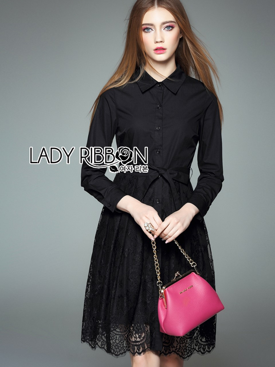 &#x1F380 Lady Ribbon's Made &#x1F380 Lady Kelly Minimal Feminine Poplin Cotton and Lace Shirt Dress