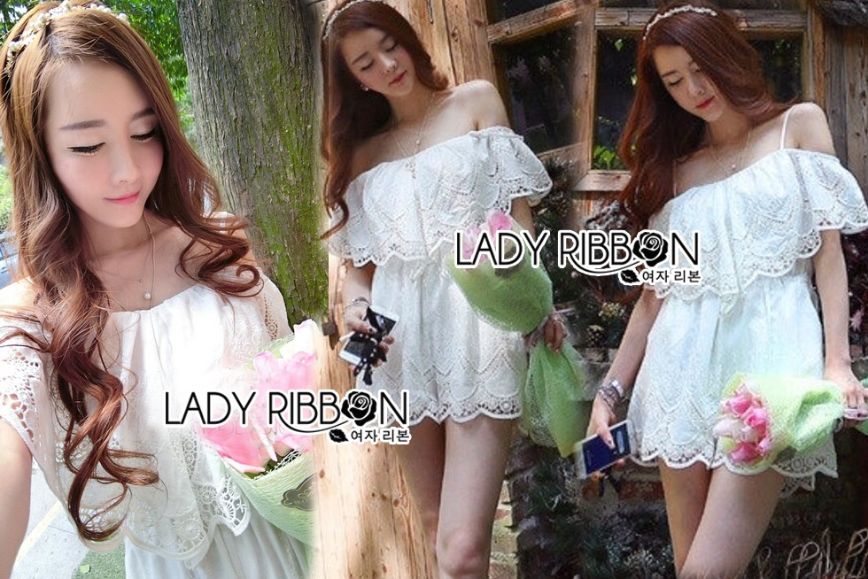Lady Ribbon Korea LB04160516 &#x1F380 Lady Ribbon's Made &#x1F380 Lady Alicia Sweet Princess Off-Shoulder Cotton Embroidered Mini Playsuit