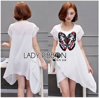 Lady Ribbon Korea Dressเสื้อผ้าเชิ้ต LR19010816 &#x1F380 Lady Ribbon's Made &#x1F380 Lady Kimberley Butterfly Embroidered Asymmetric Chiffon Long Top เสื้อตัวยาว