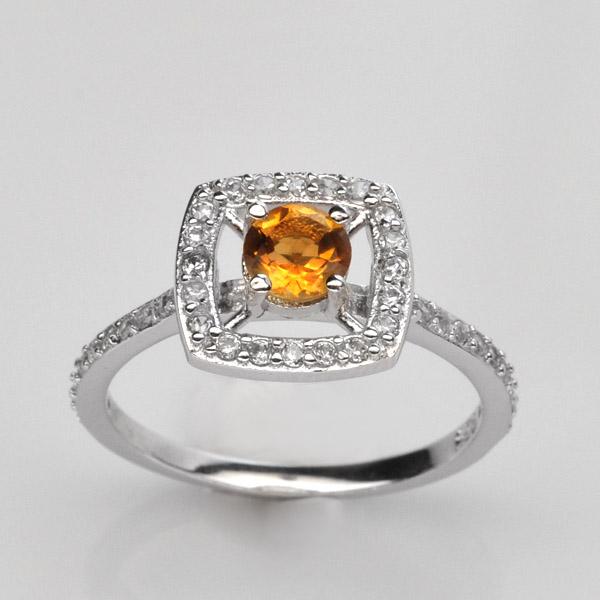 แหวนพลอยแท้ แหวนเงิน925 พลอยแท้ซิทริน ประดับเพชร CZ ชุบทองคำขาว