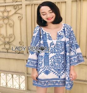 Lady Ribbon เสื้อผ้า ปักลายสีน้ำเงินสไตล์อิตาเลียน