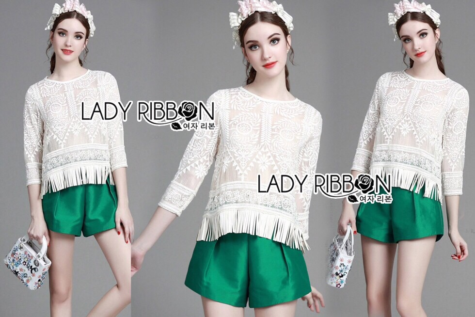 Lady Ribbon Dress LR07300516 &#x1F380 Lady Ribbon's Made &#x1F380 Lady Cassy Feminine See-Through Lace Top with Fringes