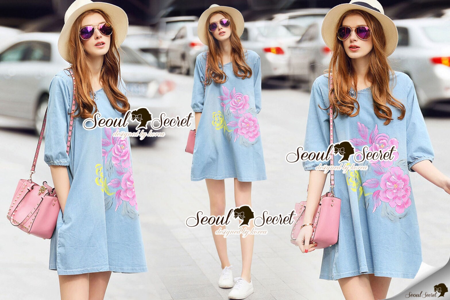 Lady Ribbon Korea Brand SS03300516 Seoul Secret Say's... Pastel Fink Paint Denim Dress