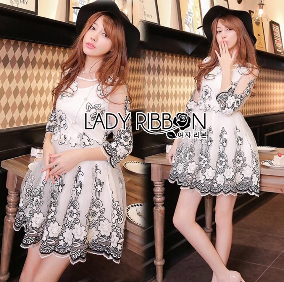 Lady Ribbon Korea Dress LR01200616 &#x1F380 Lady Ribbon's Made &#x1F380 Lady Gabby Elegant Monochrome Floral Embroidered Satin and Tulle Dress