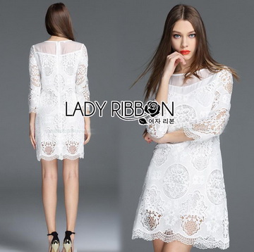 Lady Ribbon เสื้อผ้าเกาหลี LR09110716 &#x1F380 Lady Ribbon's Made &#x1F380 Lady Daria Pure Classic White Silk Cotton and Lace Dress